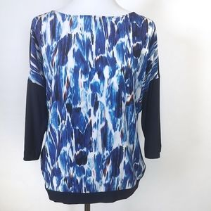 COS Blue Silk Abstract Print Batua Neckline Top
